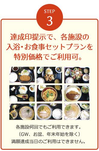 満願印達成で、各施設の入浴・お食事セットプランを特別価格でご利用可。